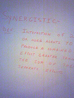 definition of synergistic, which is the same as synergy
